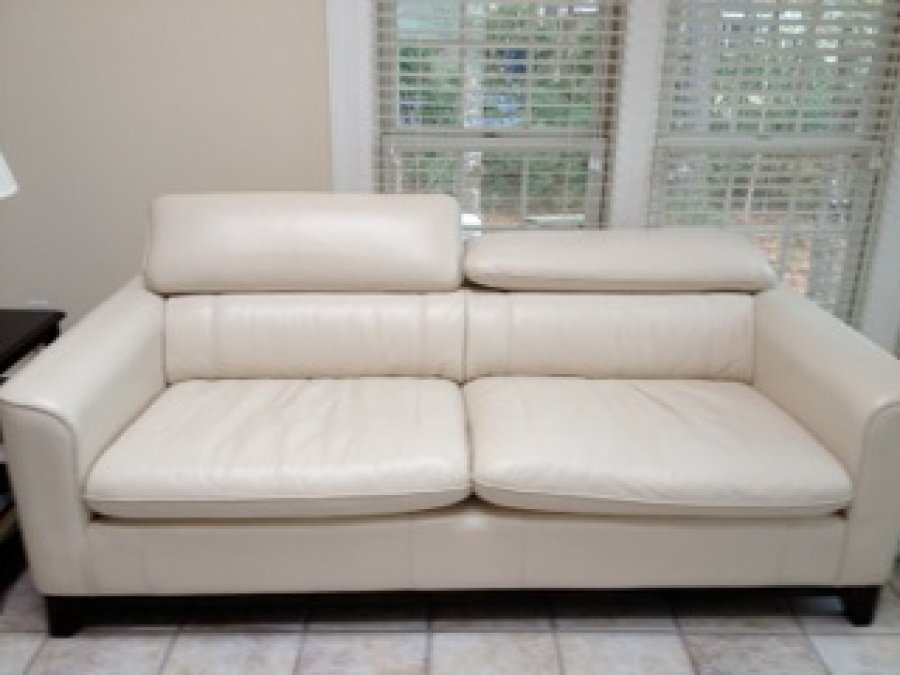 Adjustable leather cream colored head rest sofa north for Cream colored couch