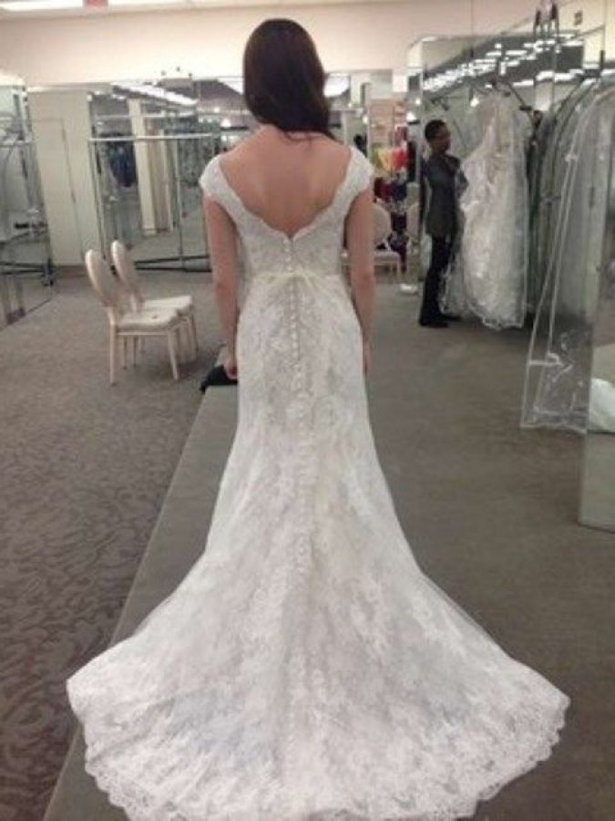 Oleg cassini off the shoulder chantilly lace trumpet for Wedding dress with buttons all the way down