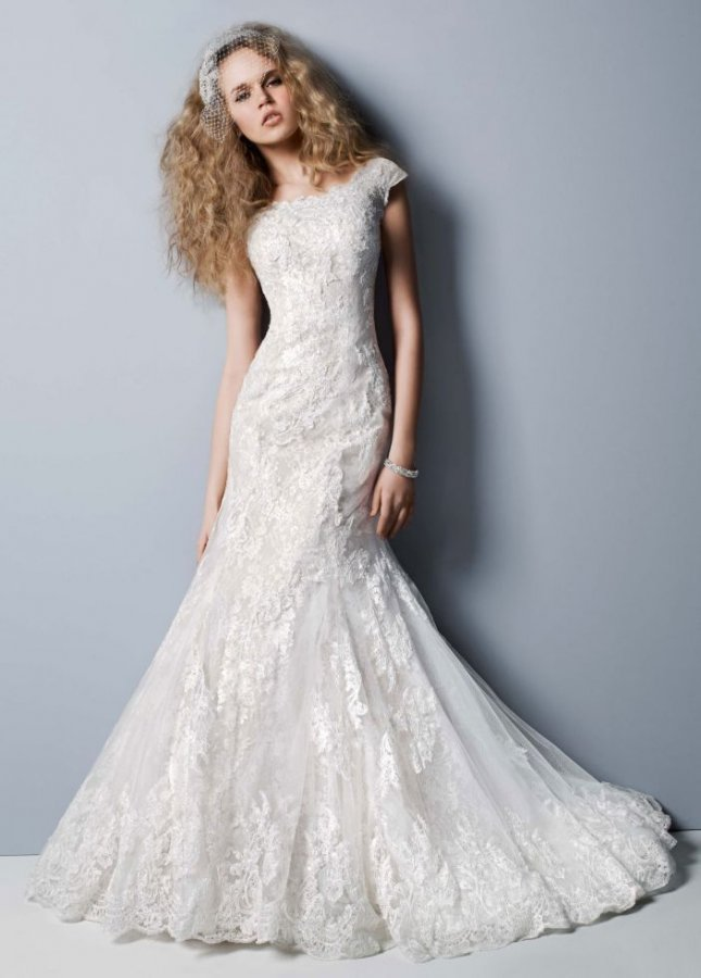 Oleg cassini off the shoulder chantilly lace trumpet for Chantilly lace wedding dress