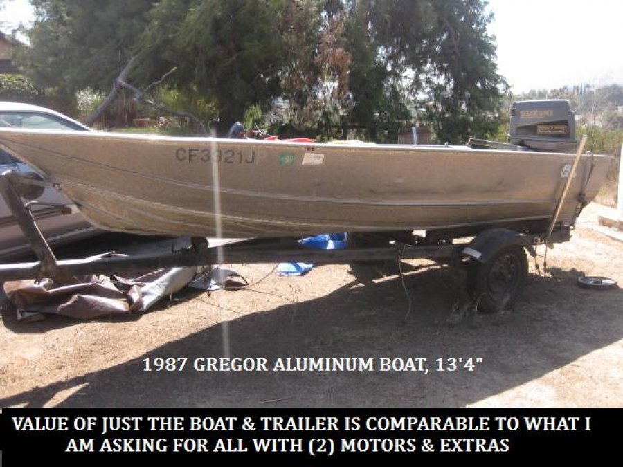 Gregor aluminum boat w 2 motors new tires rims chrome Aluminum boat and motor packages