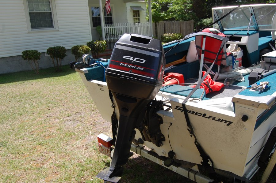 95 spectrum brunswick 16 39 deep v w 40hp merc force north for Foot operated trolling motor
