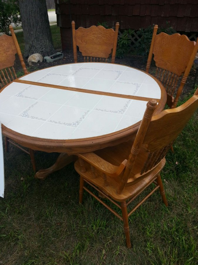 oak kitchen table with ceramic tile top  new jersey