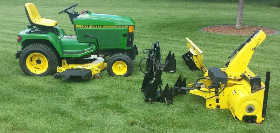 John Deere 425 Tractor Parts : Lawn tractor john deere w quot mower snow dirt