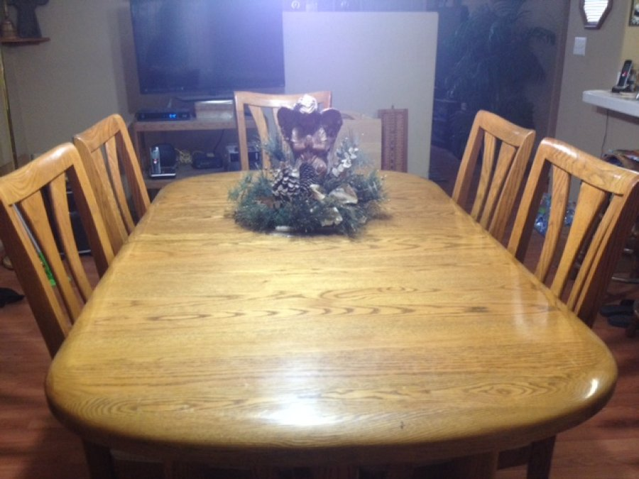 Oak formal dinnet set with six chairs las vegas 89014 for Furniture 89014