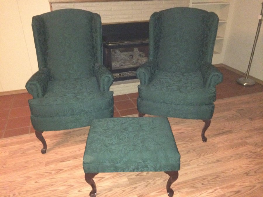 Wing back chairs and ottoman forest green cherry dining for Wingback dining room chairs for sale