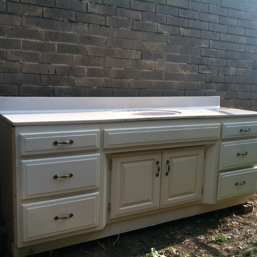 Bathroom vanity cabinet great condition real stone top for Bathroom cabinets okc