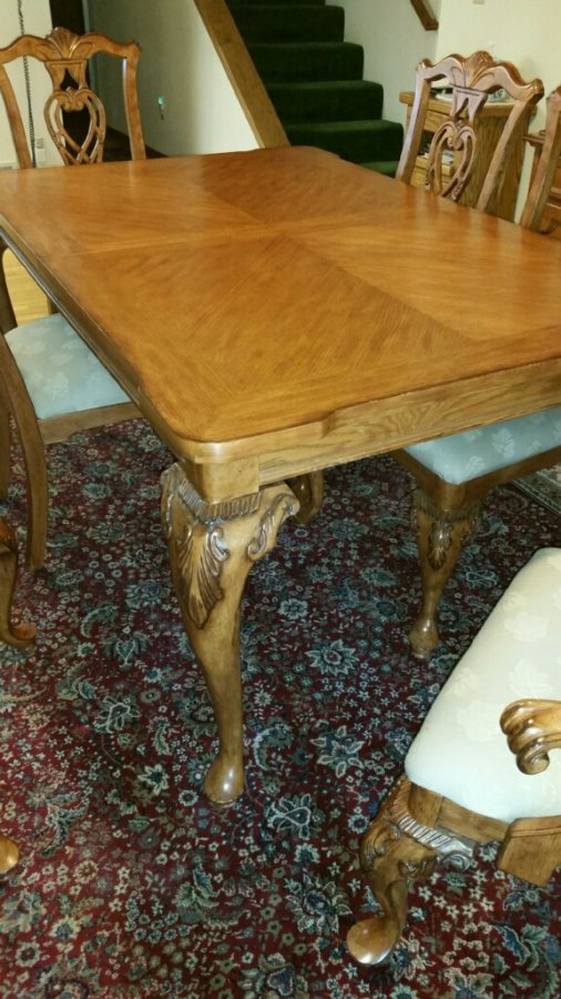 Solid Oak China Hutch With Matching Dining Table And 6 Chairs Set Salinas 9
