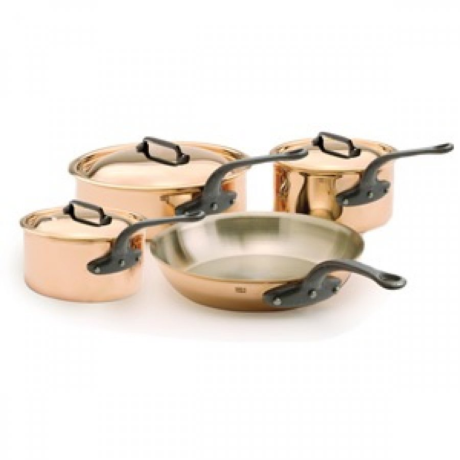 9 piece mauviel copper and stainless steel cookware. Black Bedroom Furniture Sets. Home Design Ideas