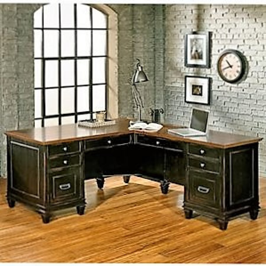 L Shaped Office Desk And Executive Leather Chair