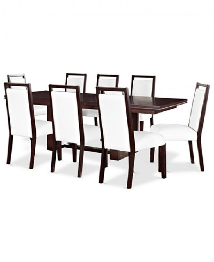 Moving Sale Magnificent Macy S Cherry Veneer And Leather Dining Set With Lea