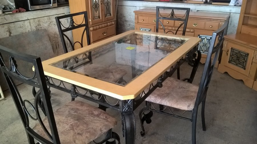 Ornate cast iron glass top kitchen table syracuse 13036 for Cast iron table with glass top