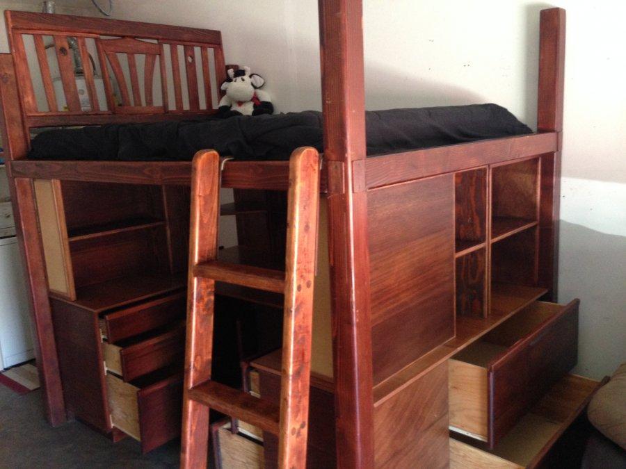 loft bed with built in desk and shelves and drawers. Black Bedroom Furniture Sets. Home Design Ideas
