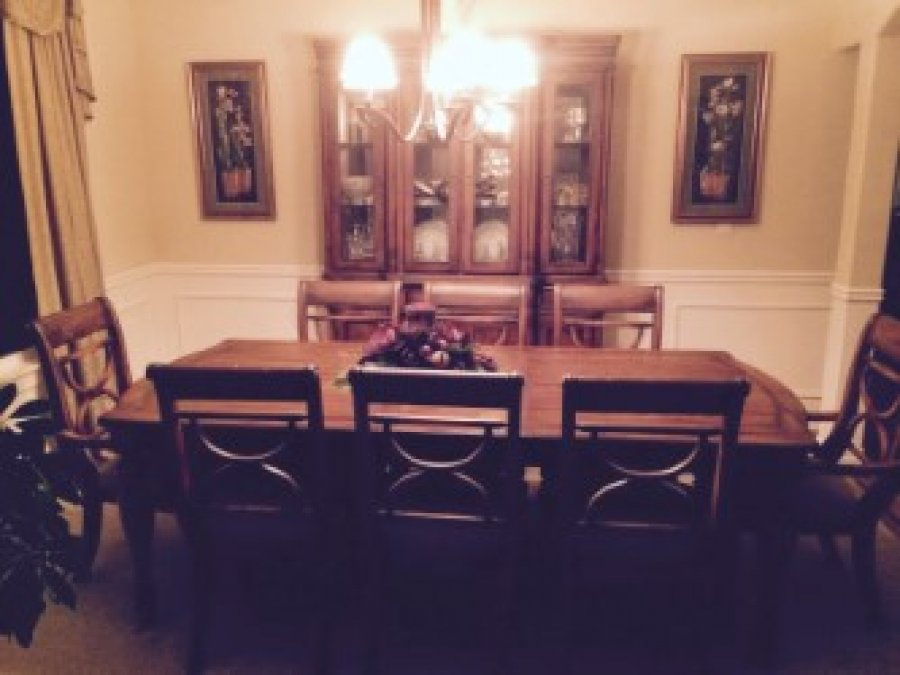 Dining room set table 8 chairs and china hutch kent for Dining room 8 chairs