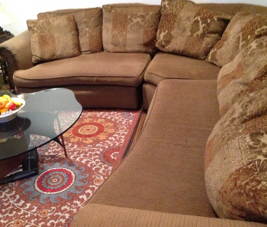 Large Sectional Olive With Brown Accents Cozy And Comfortable Huntington Beach 92646 Home