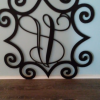 Large Detailed Wrought Iron Inspired Monogrammed Wall Hanging:  offer Arts